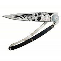 Nôž deejo Tatto, Latino Skull, granadila, 37g, 1CB021 - Nôž DEEJO - takmer umelecké dielo. Ultraľahký skladací nožík s prepracovaným dizajnom a možnosťou gravírovania.