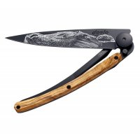 Nôž deejo Black tatto, Warmblood, olive wood, 37g, 1GB140 - Nôž DEEJO - takmer umelecké dielo. Ultraľahký skladací nožík s prepracovaným dizajnom a možnosťou gravírovania.