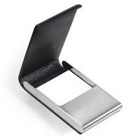 Púzdro na vizitky TROIKA MIDNIGHT - Luxusné púzdro na vizitky / karty z ušľachtilej ocele a pravej kože s gravírovaním.