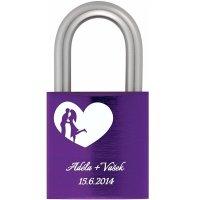 Zámek z lásky 40 Al fialový - s gravírováním