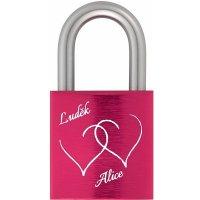 Zámek z lásky 40 Al růžový - s gravírováním