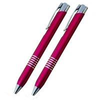 Kuličkové pero 6 pruhů + mikrotužka, růžové - S gravírováním