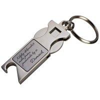 Přívěsek na klíče otvírák s žetonem - s gravíriováním